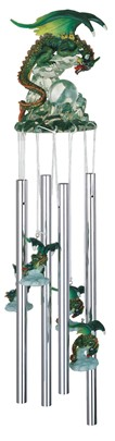 Dragon Green Round Top Windchime | GSC Imports