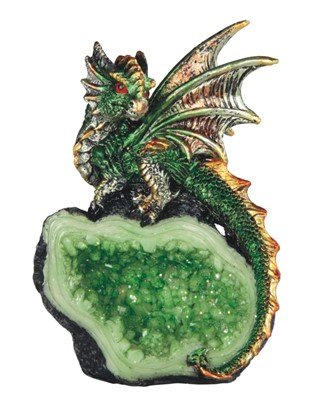 "4"" Green Dragon on Crystal 
