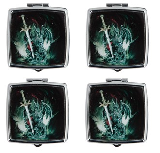 Pill Box-Square, Dragon with Sword 4pc Set