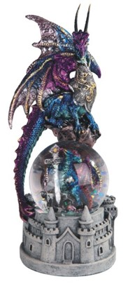 Blue Dragon Snow Globe with Castle Base