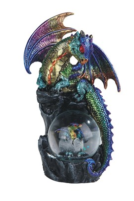"8"" Purple/Green Dragon Snow Globe"