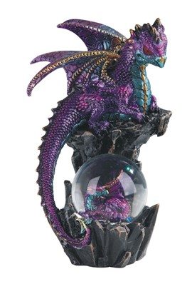"8"" Pink Dragon Snow Globe"