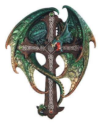 "15 3/4"" Green Dragon Wall Plaque"