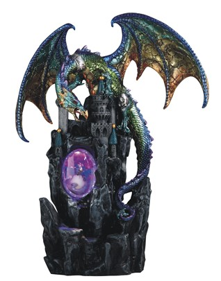 "13 1/2"" LED Purple/Green Dragon with Castle"