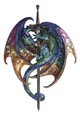 "1"" Purple/Green Dragon Wall Plaque with Sword"