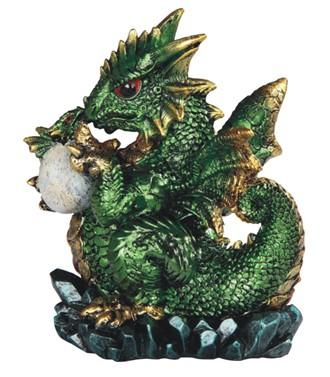 "5"" Green Dragon Holds Egg"