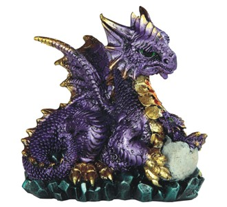 "4 3/4"" Purple Dragon Holds Egg"