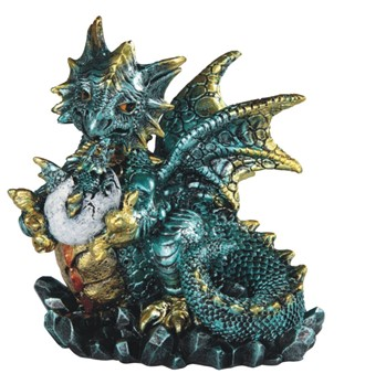 "4 3/4"" Blue Dragon Holds Egg"