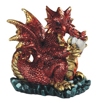 "4 3/4"" Red Dragon Holds Egg"