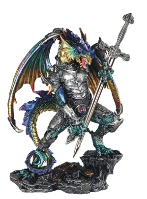 "12"" Blue/Green Dragon with Armor & Sword"