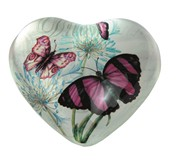 View Paperweight -Butterfly Heart Shape Pink