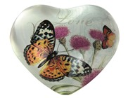 View Paperweight -Butterfly Heart Shape Yellow