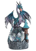 View Blue Purple Dragon Snow Globe