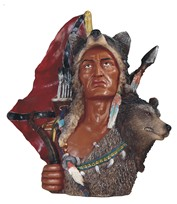 View Indian Warrior Bust with Wolf---