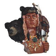 View Indian Warrior Bust with Bear---