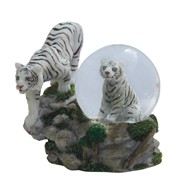 View Snow Globe White Tiger with Cub