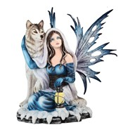 View Blue Fairy Sitting with Wolf
