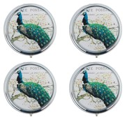 View Pill Box-Round, Peacock 4pc Set