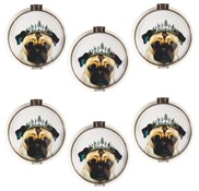 View Ceramic Jewery Box, Dog with silver Crown 6pc Set---