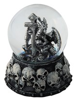 View Silver Dragon/Skull Snow Globe