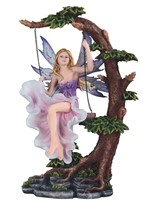 View Pink Fairy on Tree Swing