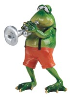 "View 6 3/4"" Frog Playing Trumpet"