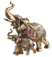 "View 9 1/4"" Golden Thai Elephant with Cub"