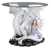 "View 24"" White Fairy Table with Dragon"