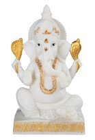 "View 10 1/4"" White/Gold Ganesha"