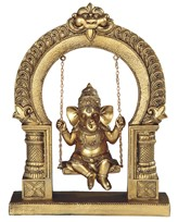 "View 10"" Gold Ganesha on Swing"