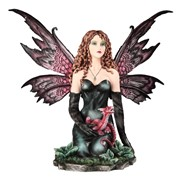 "View 14"" Black Fairy with Red Dragon"