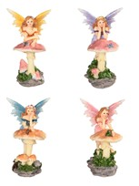 "View 4"" Fairy Leaning on Mushroom Set"