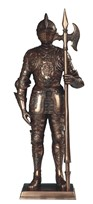 "View 13"" Bronze Medieval Knight with Long Axe"