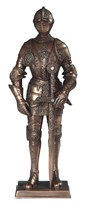 "View 7"" Bronze Medieval Knight with Sword"
