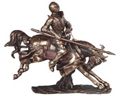 "View 15"" Bronze Medieval Knight on Horse with Axe"