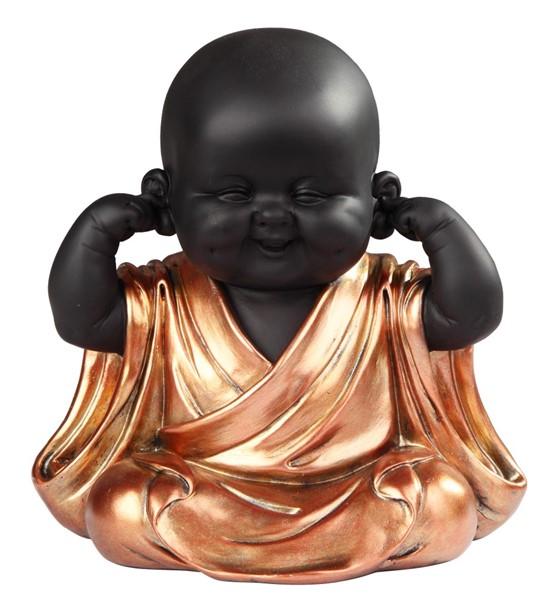 Sitting Buddhist Monk In Golden Black Gsc Imports