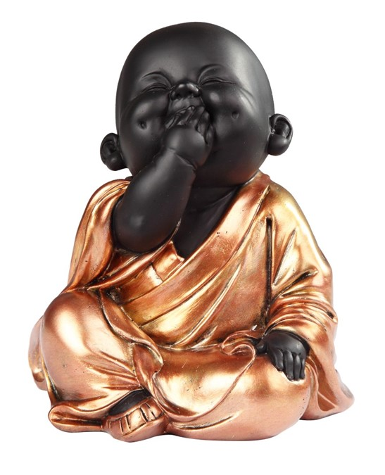 Sitting Buddhist Monk In Golden Black Gsc Imports