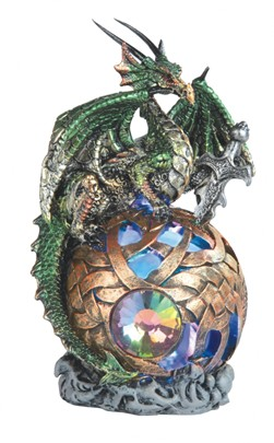 "6"" Green Dragon w/Golden LED Globe 