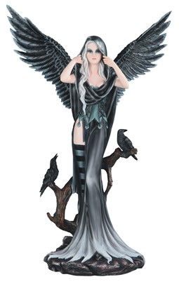 Large-scale Dark Angel Fairy with Black Crows | GSC Imports