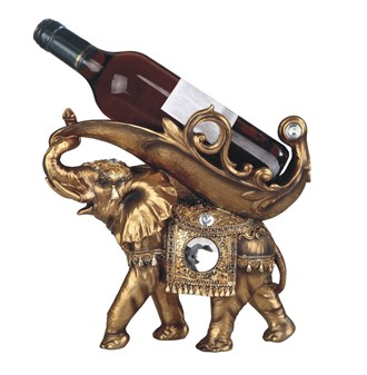 "11"" Golden Thai Elephant Wine Holder 