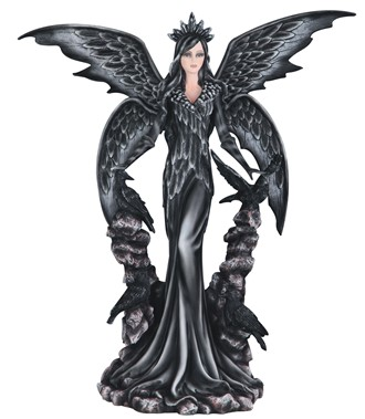 "25 1/2"" Dark Angel Fairy with Raven 