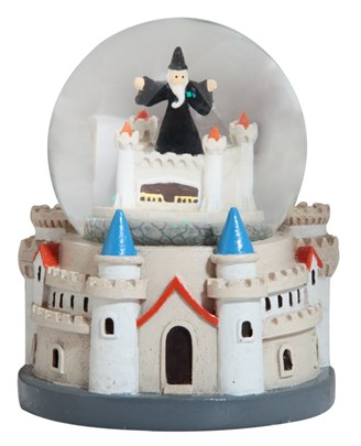 "4"" Castle Snow Globe with Wizard 