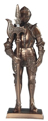"7"" Bronze Medieval Knight with Long Axe 
