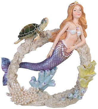 Green Sea Turtle with Mermaid