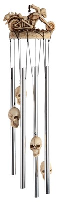 Skull Motorcycle Round Top Wind Chime