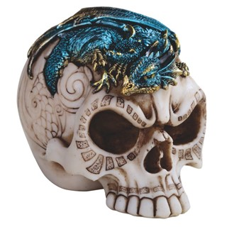 Skull with Blue Dragon