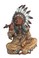 View Indian Chief Smoking a Pipe