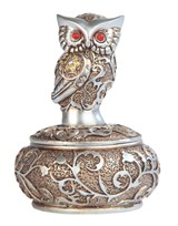 View Owl -Silver&Gold, Round Trinket Box