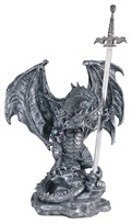 View Large-scale Silver Dragon with Sword
