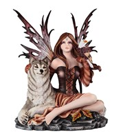 View Brown Fairy Sitting with Wolf